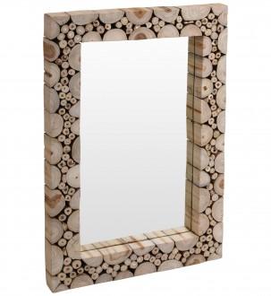 Prostokątne lustro ścienne z drewnianą ramą Moly