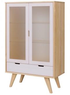 Drewniana witryna z przeszkleniem Malmo w stylu skandynawskim