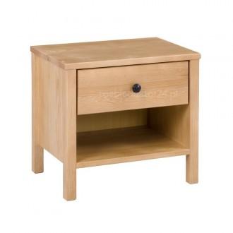 Stolik nocny z drewna sosnowego z szufladką Prestige