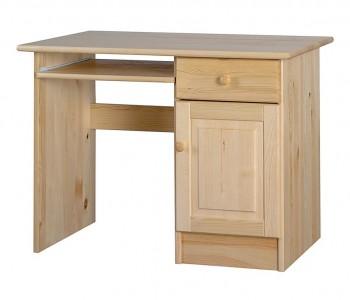 Małe biurko z drewna sosnowego z pół pod klawiaturę Classic