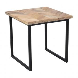 Kwadratowy stolik kawowy z drewnianym blatem Mango Wood