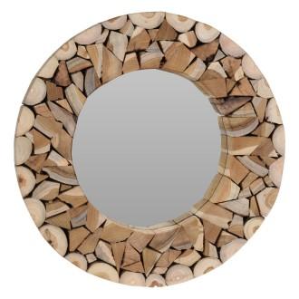 Okrągłe lustro ścienne z drewnianą ramą Wood Mosaic