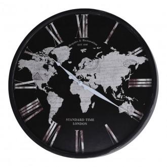 Czarny zegar na ścianę Glob