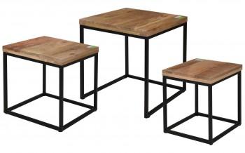 Zestaw trzech stolików kawowych Mango Wood