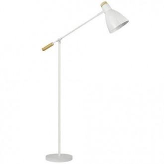 Biała lampa podłogowa Jose z drewnianą nasadką