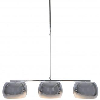 Chromowana lampa jadalniana Sillo z trzema kloszami