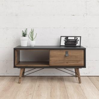 Czarny stolik pokojowy z szufladą Ry
