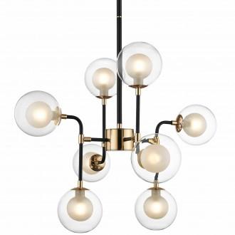 Wisząca lampa Riano z ośmioma szklanymi kloszami transparentnymi