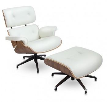 Biały fotel ze skóry Tokyo z podnóżkiem