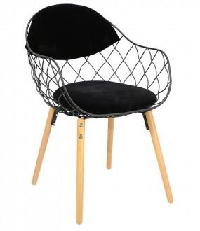 Skandynawskie krzesło z drucianym siedziskiem i poduszką Jahi