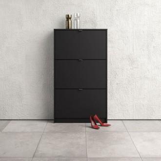 Czarna szafka na buty Roma 3D płytka