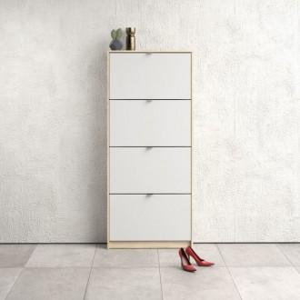 Płytka szafka na obuwie Roma 4D dąb sonoma / biały