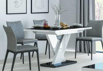Rozkładany stół w połysku Oskar z czarnym blatem i białą nogą