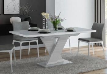 Rozkładany stół w połysku Oskar z szarym blatem i białą nogą