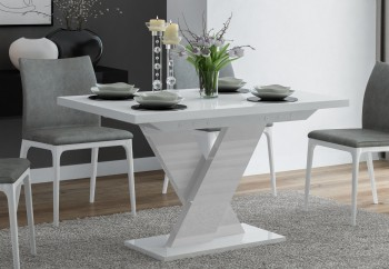 Biały stół rozkładany do jadalni w wysokim połysku Oskar