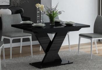 Czarny stół rozkładany do jadalni w wysokim połysku Oskar