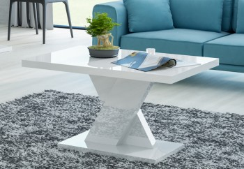 Biały stolik kawowy w wysokim połysku Oskar Mini