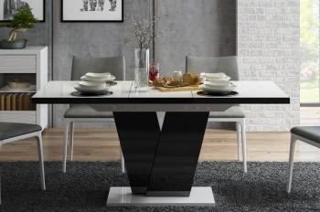 Designerski stół rozkładany Niko w połysku z białym blatem i czarną nogą