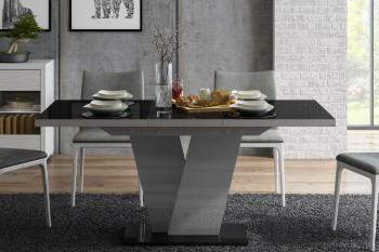 Designerski stół rozkładany Niko w połysku z czarnym blatem i białą nogą