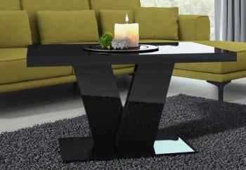 Czarny stolik kawowy na jednej nodze Niko Mini w połysku