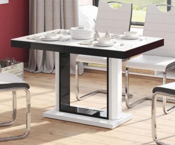 Rozkładany stół w wysokim połysku Quadro 120 z białym blatem i czarną obwódką