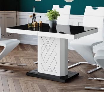 Rozkładany stół z czarnym blatem i białą obwódką Rivia 120