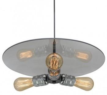 Potrójna lampa wisząca ze szklanym daszkiem Techno Loft