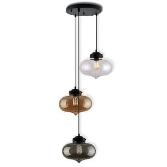 Wisząca lampa z trzema szklanymi kloszami London Loft Mix 1 CO