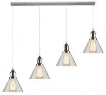 Szeroka lampa wisząca z czterema stożkowymi kloszami New York CL