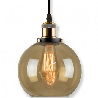 Lampa wisząca New York Loft 2 mosiężna z bursztynowym kloszem