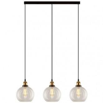 Wisząca lampa do jadalni New York Loft mosiądz z trzema okrągłymi kloszami