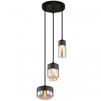 Czarna lampa z trzema kloszami Manhattan Mix w stylu loft