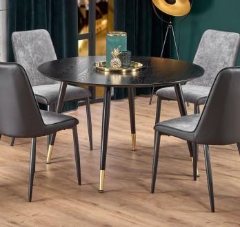 Czarny stół z okrągłym blatem w stylu glamour Embos