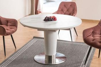 Okrągły stół rozkładany efekt marmuru Helios