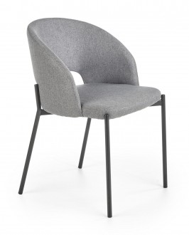 Krzesło z tapicerowanym siedziskiem i oparciem na metalowych nogach K373