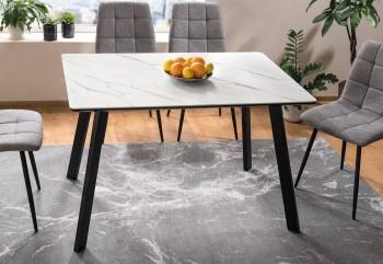 Loftowy stół jadalniany ze szklaną nakładką Samuel efekt marmuru
