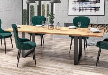 Nierozkładany stół na płozach w stylu industrialnym Radus 160/90 dąb lity