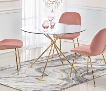 Szklany stół z okrągłym blatem na złotej podstawie Rondo