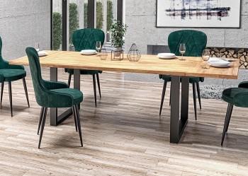 Industrialny stół z podstawą w formie płoz Radus 120/78 dąb lity