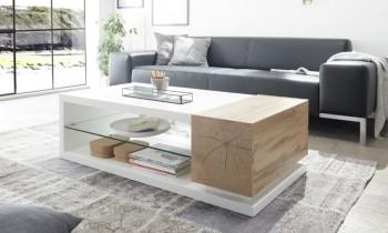 Biała ława salonowa z szafką i szklaną półką Portmore