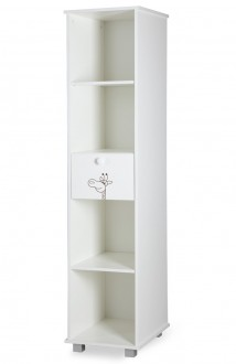 Biały regał z półkami i szufladą do pokoju dziecka Żyrafka