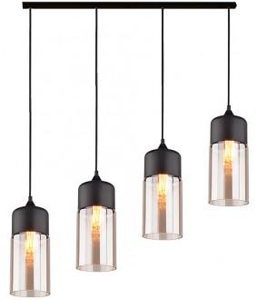 Czarna lampa wisząca Manhattan Chic 7 z czterema podłużnymi kloszami