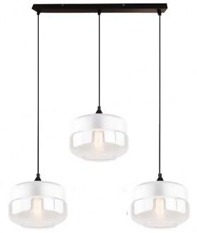 Biała lampa wisząca z trzema szklanymi kloszami Manhatan Chic 3