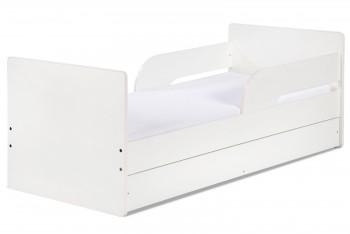 Białe łóżko dla dziecka z szufladą i barierkami Timo 160x70