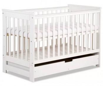 Łóżeczko dziecięce z szufladą i barierką ochronną Iwo 120x60 białe
