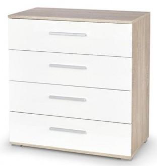 Nowoczesna komoda z szufladami Lima KM3 w kolorze dąb sonoma/biały