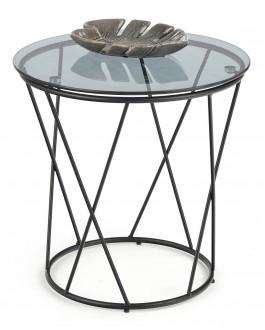 Stolik ze szklanym blatem na metalowej podstawie Manila