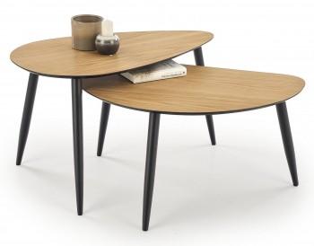 Zestaw dwóch stolików na drewnianych nogach Geneva