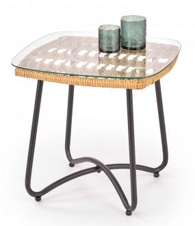 Stolik pomocniczy ze szklanym blatem Indira