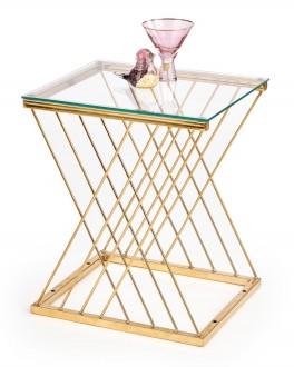 Szklany stolik pomocniczy na szklanej podstawie w stylu glamour Nancy
